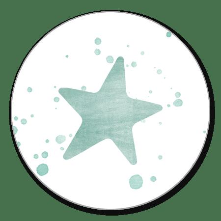 Mintgroene ster en spetters