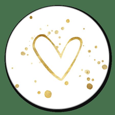 Open gouden hartje en spetters