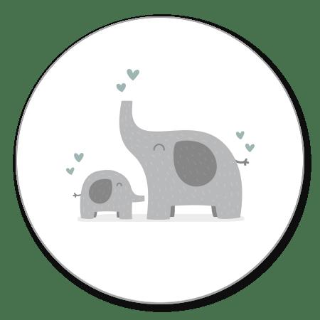 Olifantjes met blauwgroene hartjes