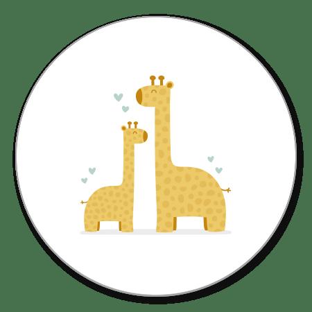 Giraffes met blauwgroene hartjes