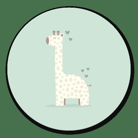 Giraffe met hartjes groen