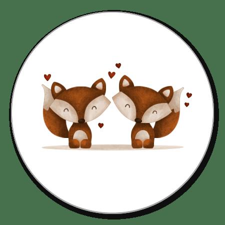 Tweeling vosjes met hartjes