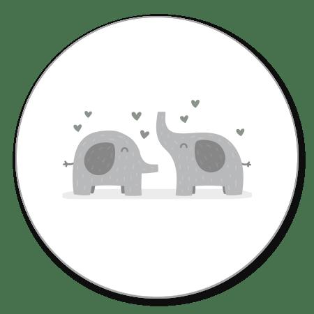 Tweeling olifantjes met hartjes
