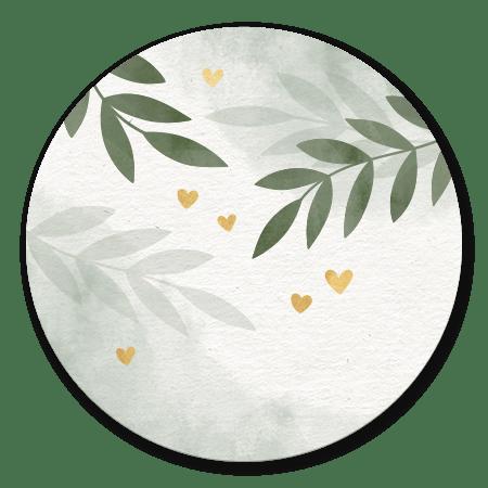 Waterverf groen takjes gouden hartjes