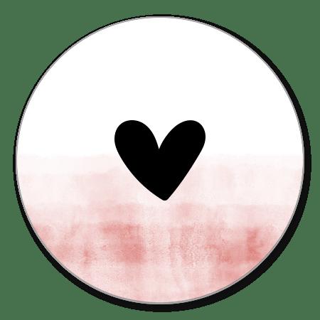 Waterverf roze met zwart hartje