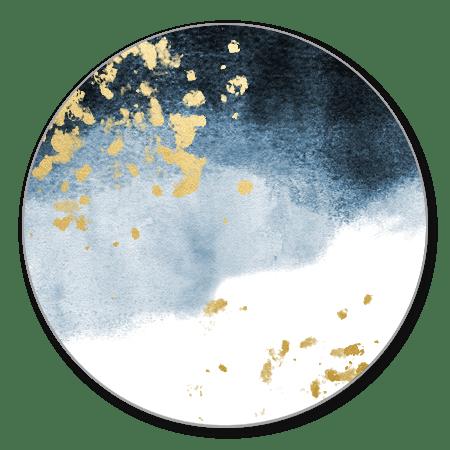 Blauwe waterverf met gouden spetters