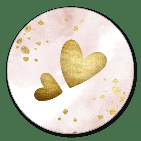 Gouden hartjes met roze waterverf
