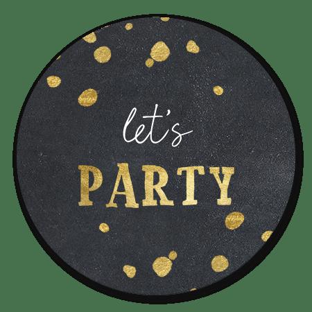Lets party goudlook krijtbord met spetters