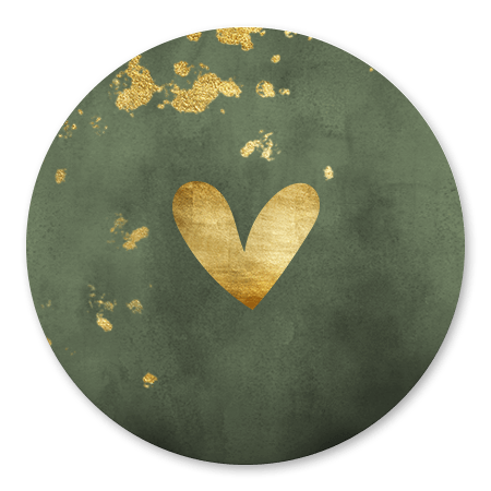 Groene waterverf met gouden hartje en spetters