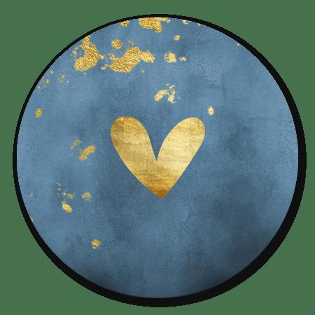 Blauwe waterverf met gouden hartje en spetters