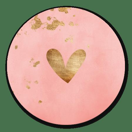Roze waterverf met gouden hartje en spetters