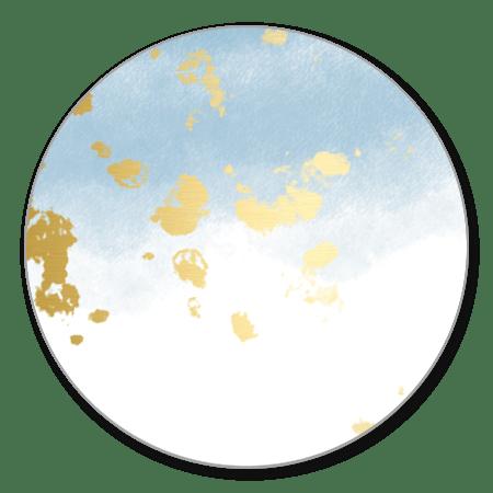 Waterverf lichtblauw gouden spetters