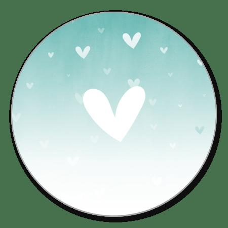 Mintgroene waterverf ombre met hartje
