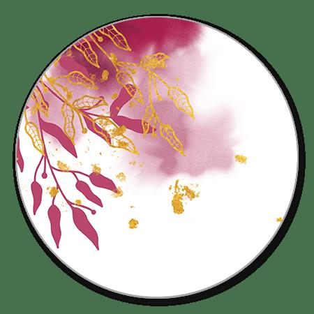Gouden bladeren en donkerroze waterverf