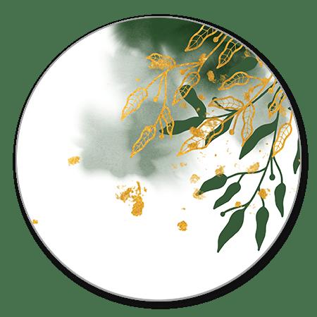 Gouden bladeren en donkergroene waterverf