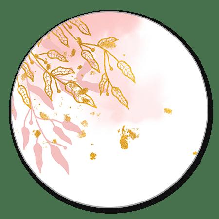 Gouden bladeren en lichtroze waterverf