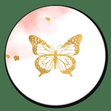 Vlinder goud met roze waterverf