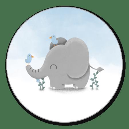 Lieve olifant met vogeltjes en blauwe waterverf
