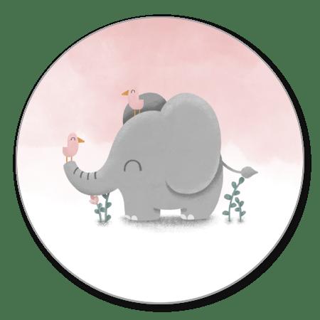 Lieve olifant met vogeltjes en roze waterverf