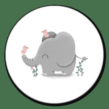 Lieve olifant met roze vogeltjes