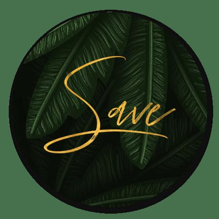 Jungle bladeren met gouden 'save'