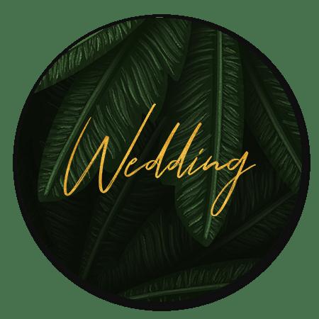 Jungle bladeren met gouden 'wedding'
