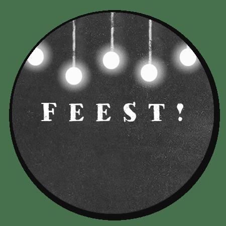 Feest met lampjes krijtbord