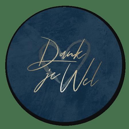 Goudlook 'Dank je wel' met donkerblauwe achtergrond
