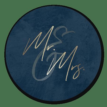 Goudlook 'Mr & Mrs' met donkerblauwe achtergrond