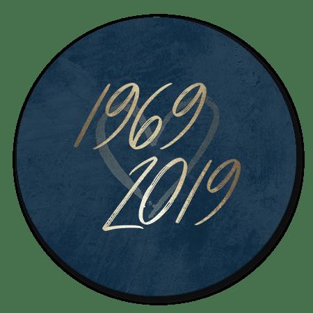 Goudlook '1969/2019' met donkerblauwe achtergrond