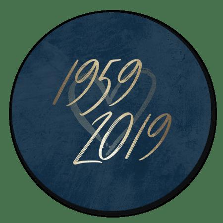 Goudlook '1959/2019' met donkerblauwe achtergrond