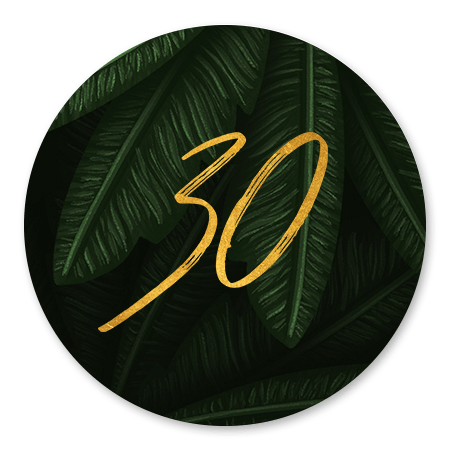 Jungle bladeren met gouden '30'