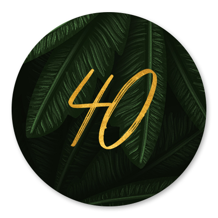 Jungle bladeren met gouden '40'