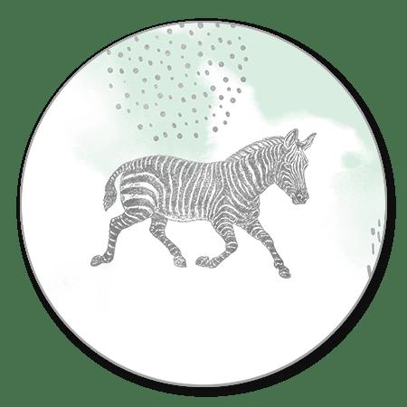 Zilveren zebra met waterverf