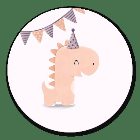 Dinosaurus met hoedje meisje