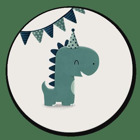 Dinosaurus met hoedje jongen