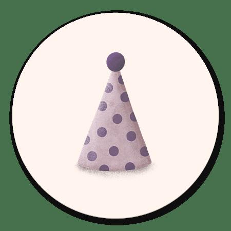Feesthoedje paars