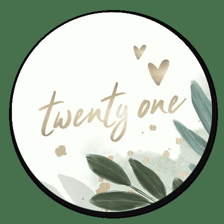 Twenty one botanisch met gouden hartjes