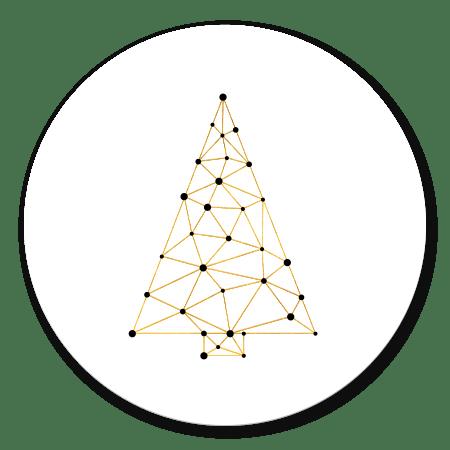 Kerstboom connectie goud/wit