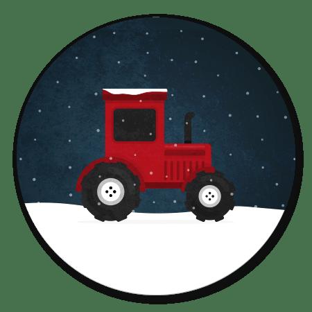 Tractor met sneeuw donker