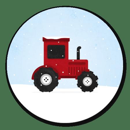 Tractor met sneeuw licht