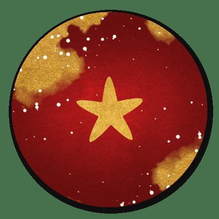 Rood met ster en spetters