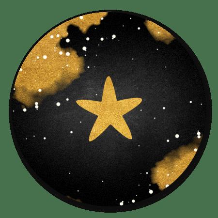 Krijtbord met ster en spetters