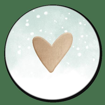 Hartje met groene waterverf en witte confetti