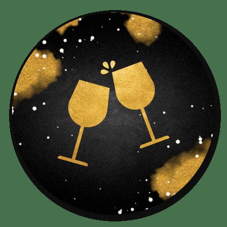 Proostende glazen goud