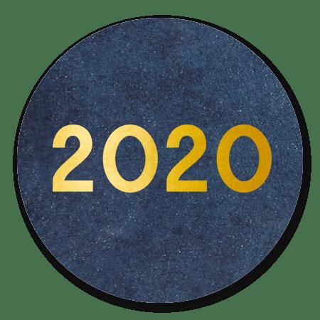 2020 goud op blauw