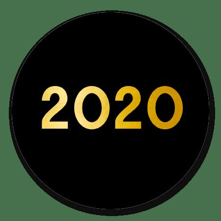 2020 goud op zwart