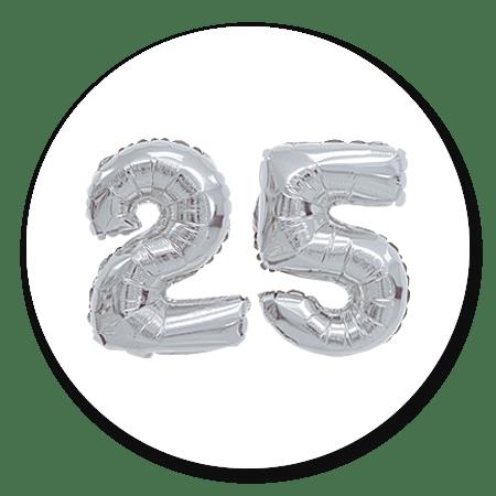 Cijferballon zilver 25