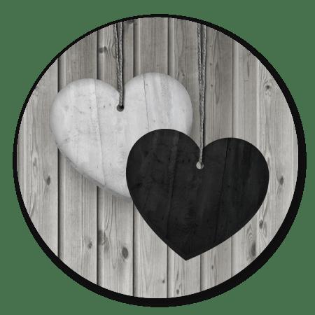 2 houten hartjes