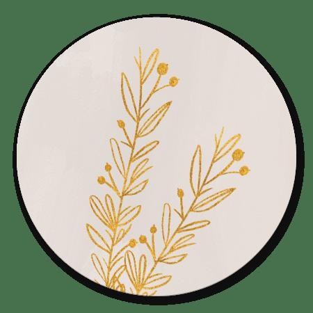 Goudtakje op beige waterverf